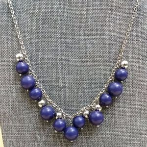 Silver tone blue and silver beaded necklace
